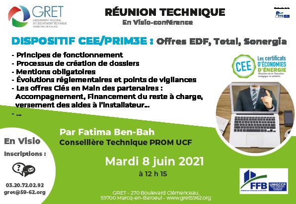 8 juin 2021 : Réunion CEE/Prim3E