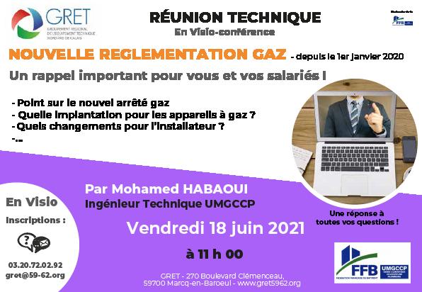 18 juin 2021 : Réunion Réglementation Gaz